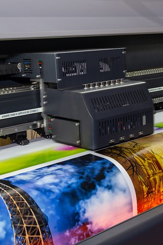large-format printing machine in operation